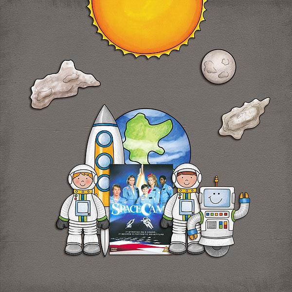 "Space digital scrapbook page created with ""Blast Off!"" digital scrapbooking kit by Kate Hadfield | layout by Creative Team member Melanie"