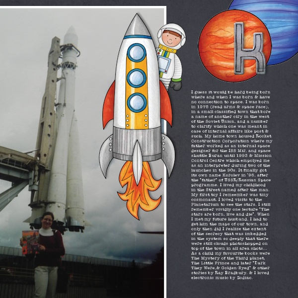 "Space digital scrapbook page created with ""Blast Off!"" digital scrapbooking kit by Kate Hadfield | layout by Creative Team member Olga"