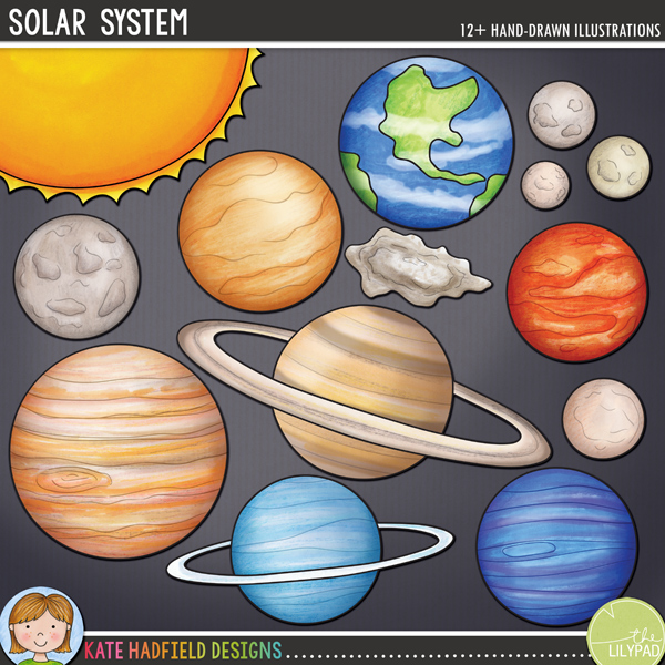 Solar System - Space digital scrapbooking kit / clip art from Kate Hadfield Designs