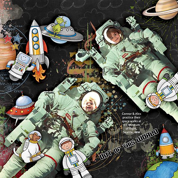 "Space digital scrapbook page created with ""Blast Off!"" digital scrapbooking kit by Kate Hadfield | layout by Creative Team member Iowan"