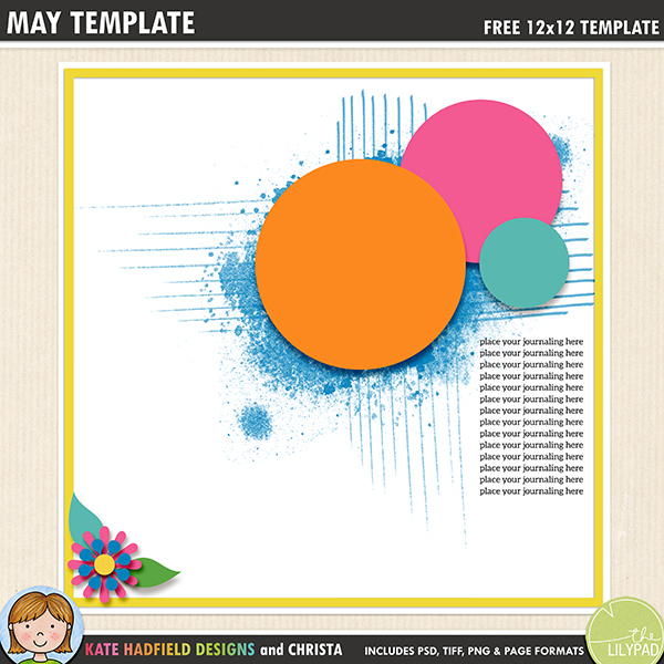 Free digital scrapbooking template / scrapbook sketch from Kate Hadfield Designs. This template is perfect for showcasing your favourite photos and for adding an artsy, painterly effect to your page! Download contains PSD, Tiff, png and .page file formats.