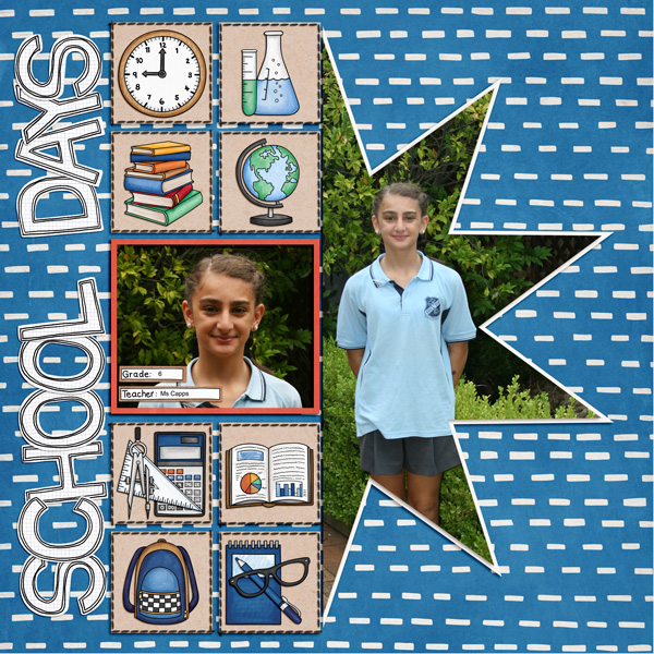 back to school digital scrapbook page