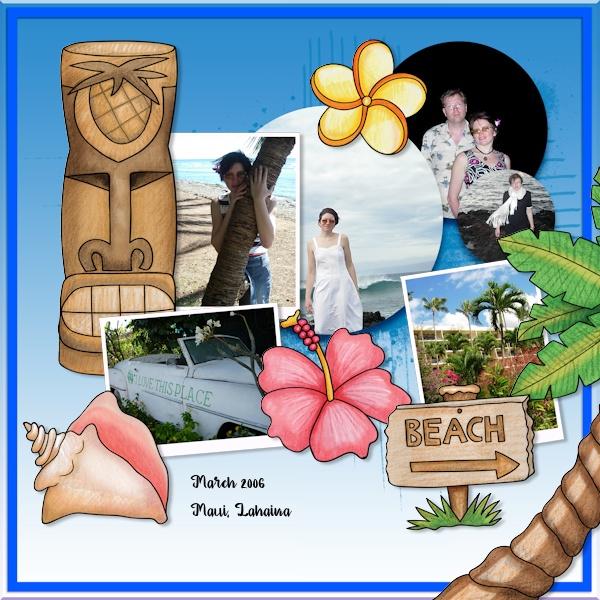 beach digital scrapbook page