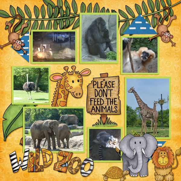 """Zoo digital scrapbook page created with """"Safari Malarky"""" wild animal digital scrapbooking kit by Kate Hadfield Designs 
