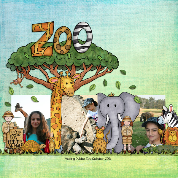 "Zoo digital scrapbook page created with ""Safari Malarky"" wild animal digital scrapbooking kit by Kate Hadfield Designs | layout by Creative Team member Kirstie"