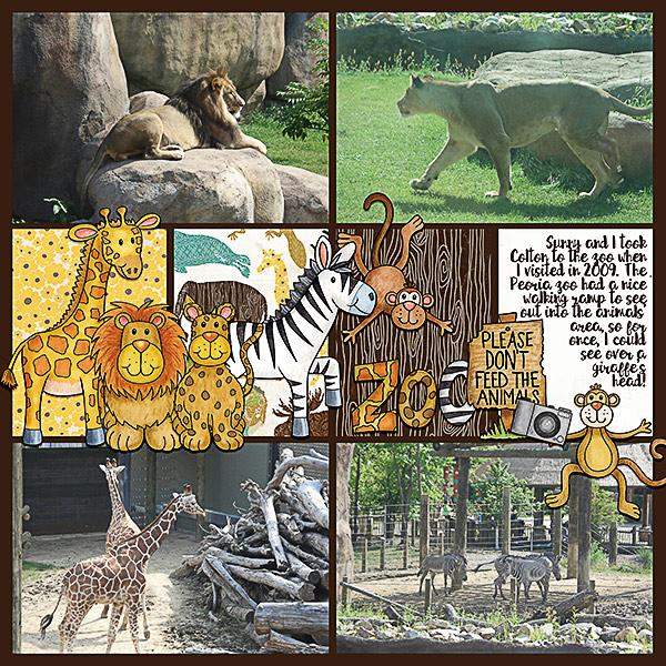 "Zoo digital scrapbook page created with ""Safari Malarky"" wild animal digital scrapbooking kit by Kate Hadfield Designs | layout by Creative Team member Kristina"