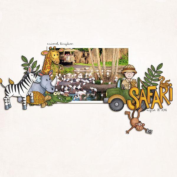 "Zoo digital scrapbook page created with ""Safari Malarky"" wild animal digital scrapbooking kit by Kate Hadfield Designs | layout by Creative Team member Melanie"