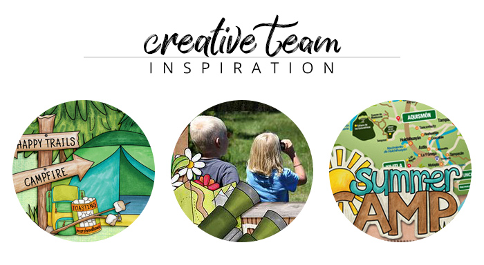 Creative Team Inspiration: digital scrapbook pages from the Kate Hadfield Designs creative team: Summer Camp