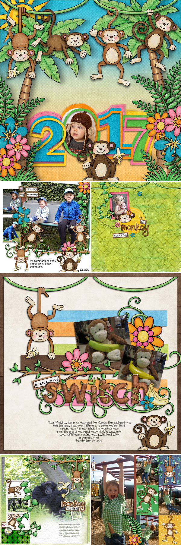 "Scrapbook pages created with ""Monkeying Around"" digital scrapbooking kit by Kate Hadfield Designs 