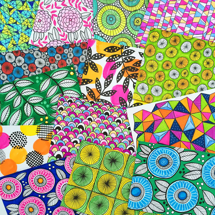 Index Card a Day challenge! Mixed media pattern making and art journaling on 6x4 index cards, project by Kate Hadfield