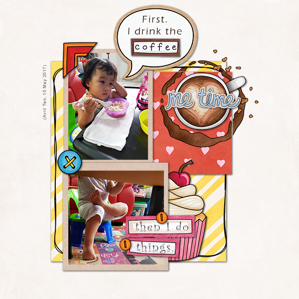 """Fun digital scrapbook page created with """"Coffee & Cupcakes"""" digital scrapbooking kit by Kate Hadfield Designs   ideas for scrapbook pages   layout by Creative Team member Agnes"""