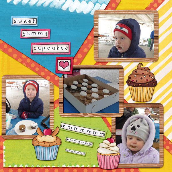"""Fun digital scrapbook page created with """"Coffee & Cupcakes"""" digital scrapbooking kit by Kate Hadfield Designs   ideas for scrapbook pages   layout by Creative Team member Amy"""