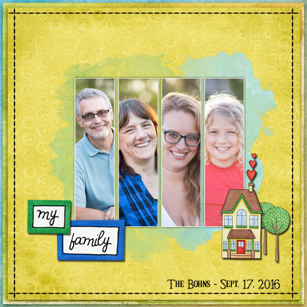Digital scrapbook layout created with the FREE digital scrapbooking template from Kate Hadfield Designs! | layout by CT member Jenni