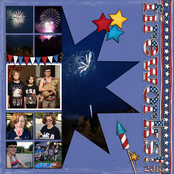 4th july digital scrapbook page