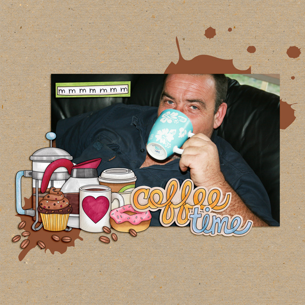 """Fun digital scrapbook page created with """"Coffee & Cupcakes"""" digital scrapbooking kit by Kate Hadfield Designs   ideas for scrapbook pages   layout by Creative Team member Kirstie"""