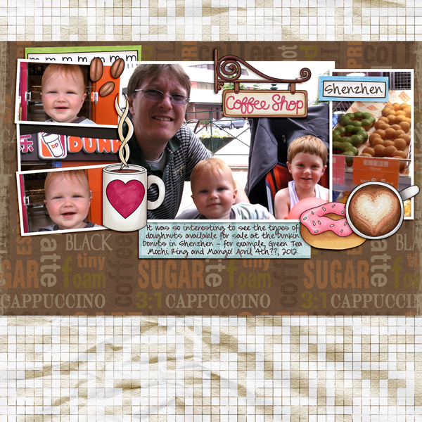 """Fun digital scrapbook page created with """"Coffee & Cupcakes"""" digital scrapbooking kit by Kate Hadfield Designs   ideas for scrapbook pages   layout by Creative Team member Molly"""