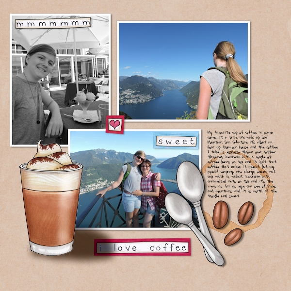 """Fun digital scrapbook page created with """"Coffee & Cupcakes"""" digital scrapbooking kit by Kate Hadfield Designs   ideas for scrapbook pages   layout by Creative Team member Olga"""