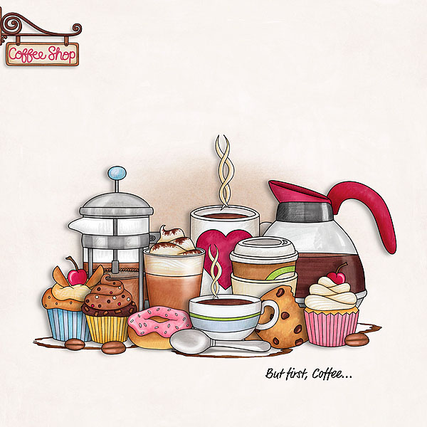 """Fun digital scrapbook page created with """"Coffee & Cupcakes"""" digital scrapbooking kit by Kate Hadfield Designs   ideas for scrapbook pages   layout by Creative Team member Rebecca"""