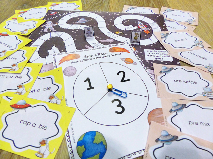 Space Race prefix and suffix word fluency game from Smart 2 Heart Creations | illustrations by Kate Hadfield Designs