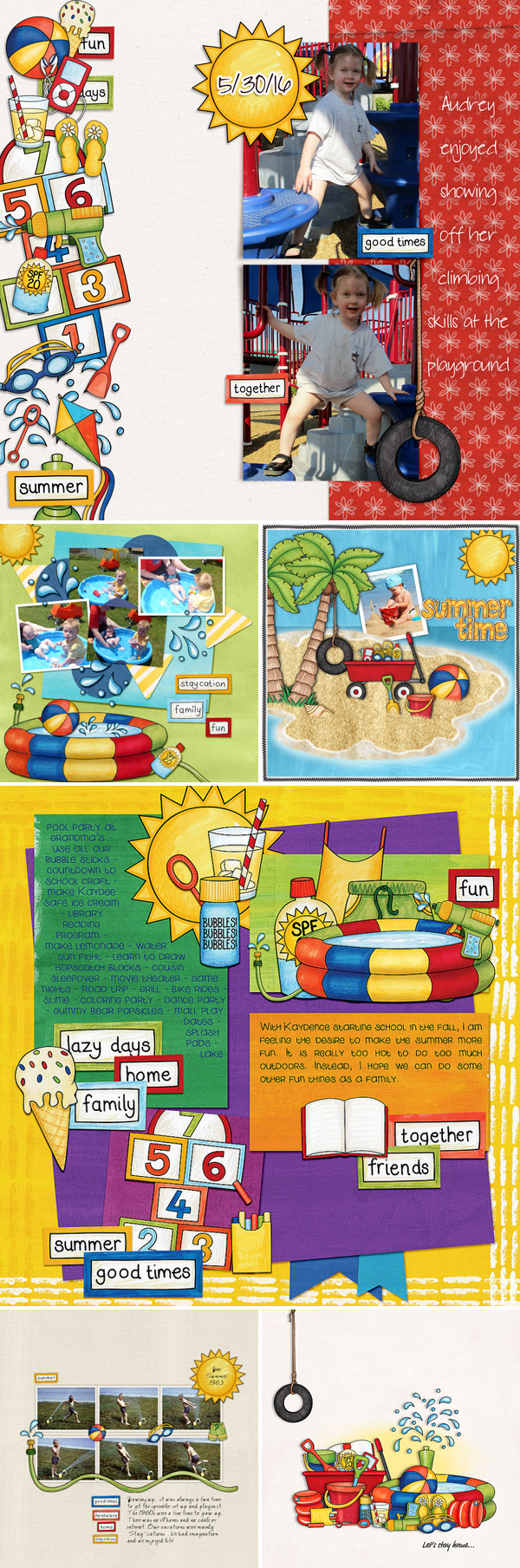"Summer scrapbook pages created with ""Summer Staycation"" digital scrapbooking kit by Kate Hadfield Designs 
