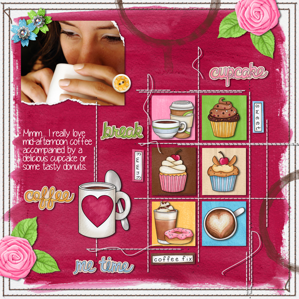 """Fun digital scrapbook page created with """"Coffee & Cupcakes"""" digital scrapbooking kit by Kate Hadfield Designs   ideas for scrapbook pages   layout by Creative Team member Karen"""