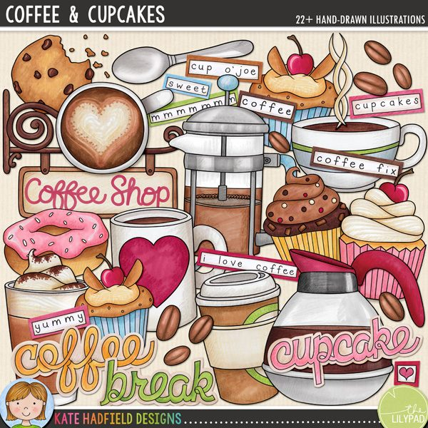 Coffee & Cupcakes digital scrapbooking elements / cute coffee clip art! Hand-drawn doodles, clip art and line art for digital scrapbooking, crafting and teaching resources from Kate Hadfield Designs! Click through to see scrapbook pages and projects created using these