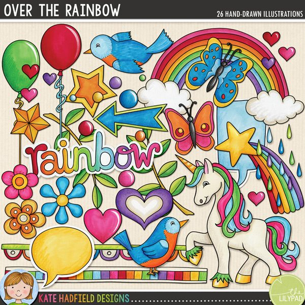 Over the Rainbow - 1980s retro / kitsch digital scrapbooking elements / cute 80s clip art! Hand-drawn doodles, clip art and line art for digital scrapbooking, crafting and teaching resources from Kate Hadfield Designs! Click through to see scrapbook pages and projects created using these illustrations!