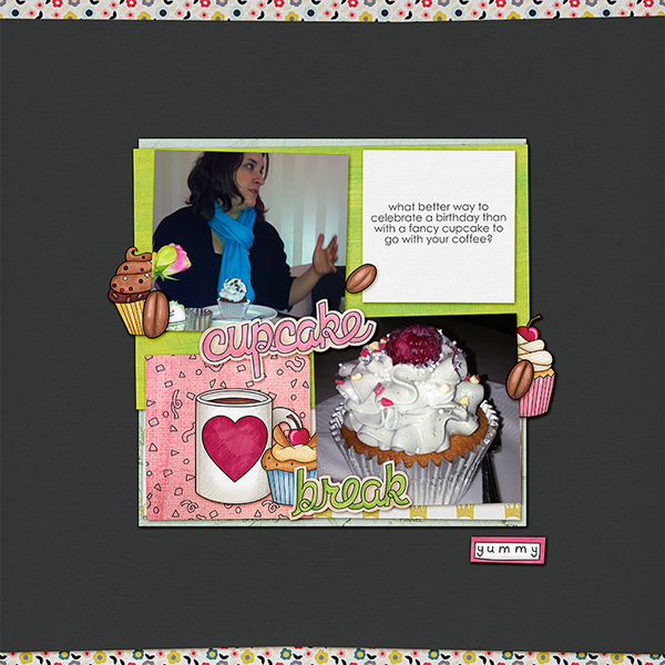 """Fun digital scrapbook page created with """"Coffee & Cupcakes"""" digital scrapbooking kit by Kate Hadfield Designs   ideas for scrapbook pages   layout by Creative Team member Lorry"""