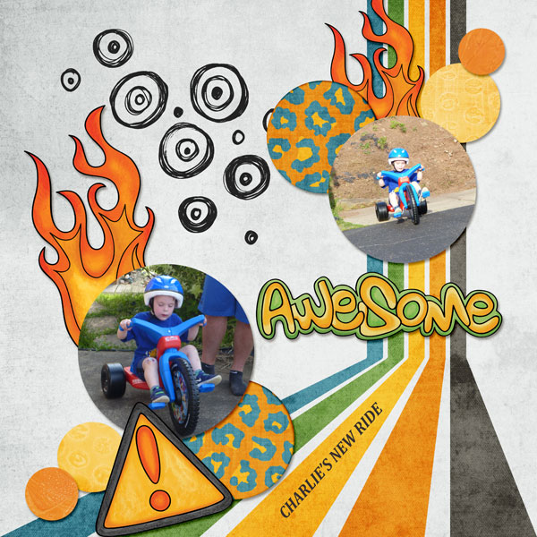bike riding digital scrapbook page