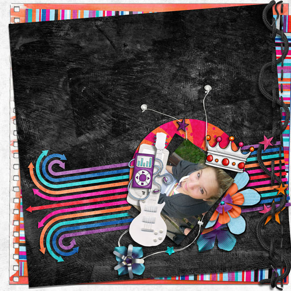 Teen girl scrapbook page created with 'Audaciously Awesome' digital scrapbooking kit by Kim Jensen and Kate Hadfield – fun ideas for scrapbook pages! Layout by Creative Team member Cynthia