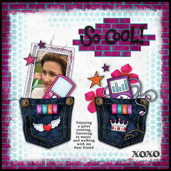 Teen girl scrapbook page created with 'Audaciously Awesome' digital scrapbooking kit by Kim Jensen and Kate Hadfield – fun ideas for scrapbook pages! Layout by Creative Team member Karen