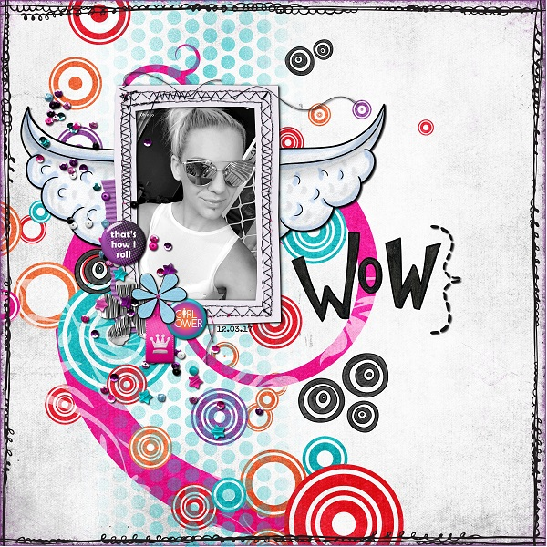 Teen girl scrapbook page created with 'Audaciously Awesome' digital scrapbooking kit by Kim Jensen and Kate Hadfield – fun ideas for scrapbook pages! Layout by Creative Team member Kate