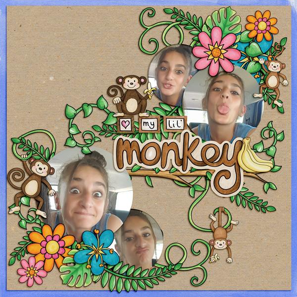 monkey digital scrapbook page