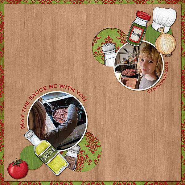 cooking digital scrapbook page
