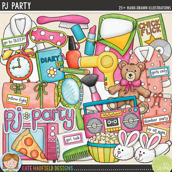 PJ Party digital scrapbooking elements / cute slumber party clip art! Hand-drawn doodles, clip art and line art for digital scrapbooking, crafting and teaching resources from Kate Hadfield Designs! Click for scrapbook pages and projects created using these illustrations!