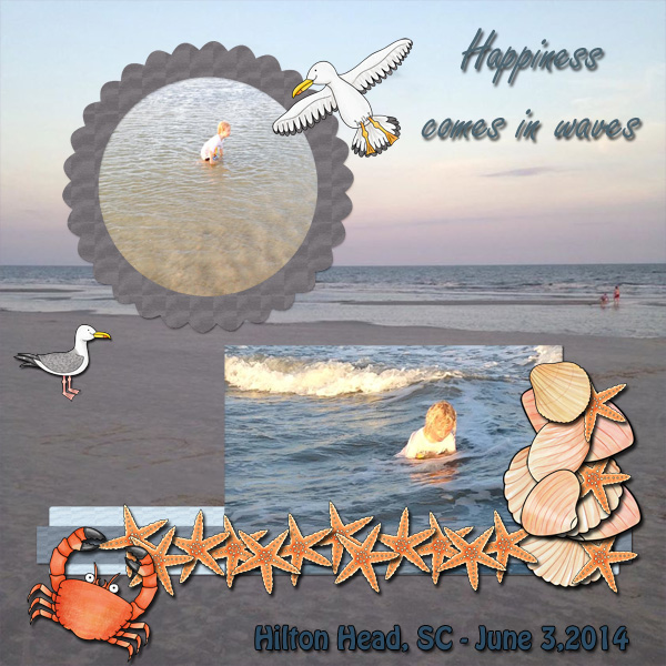 "Beach scrapbook page created with ""Beside the Seaside"" digital scrapbooking kit by Kate Hadfield Designs – fun ideas for summer scrapbook pages! Layout by Creative Team member Jenni"