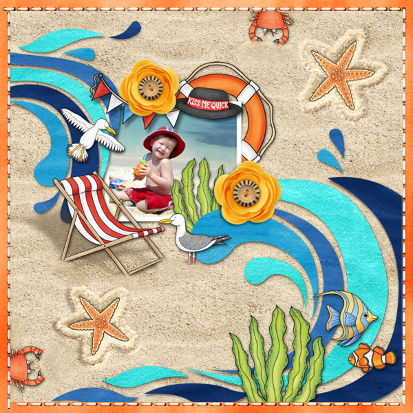 "Beach scrapbook page created with ""Beside the Seaside"" digital scrapbooking kit by Kate Hadfield Designs – fun ideas for summer scrapbook pages! Layout by Creative Team member Karen"