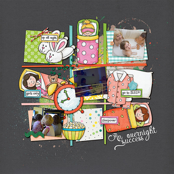 Slumber party / sleepover scrapbook page created with 'PJ Party' digital scrapbooking kit by Kate Hadfield Designs – fun ideas for scrapbook pages! Layout by Creative Team member Lorry