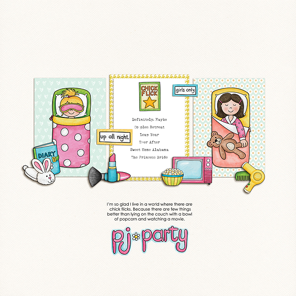 Slumber party / sleepover scrapbook page created with 'PJ Party' digital scrapbooking kit by Kate Hadfield Designs – fun ideas for scrapbook pages! Layout by Creative Team member Melanie