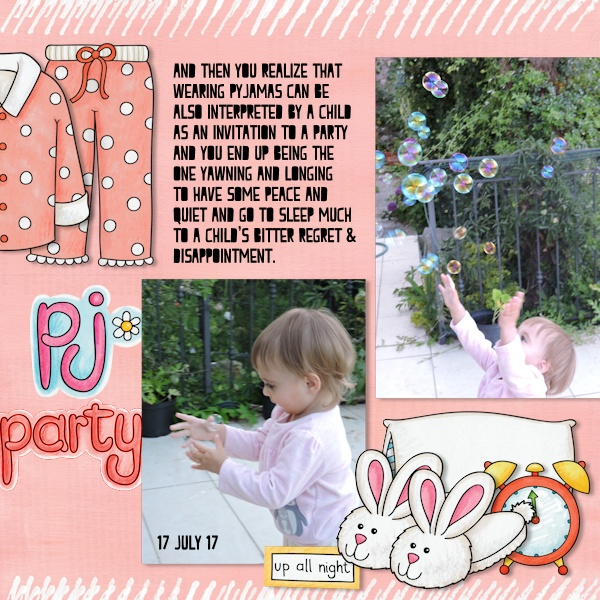 Slumber party / sleepover scrapbook page created with 'PJ Party' digital scrapbooking kit by Kate Hadfield Designs – fun ideas for scrapbook pages! Layout by Creative Team member Olga