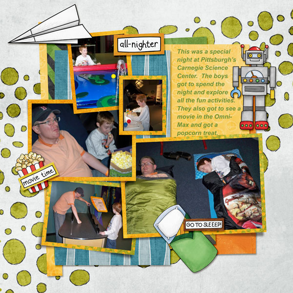 "Boys' slumber party / sleepover scrapbook page created with 'Boys' Night In"" digital scrapbooking kit by Kate Hadfield Designs – fun ideas for scrapbook pages! Layout by Creative Team member Amy"