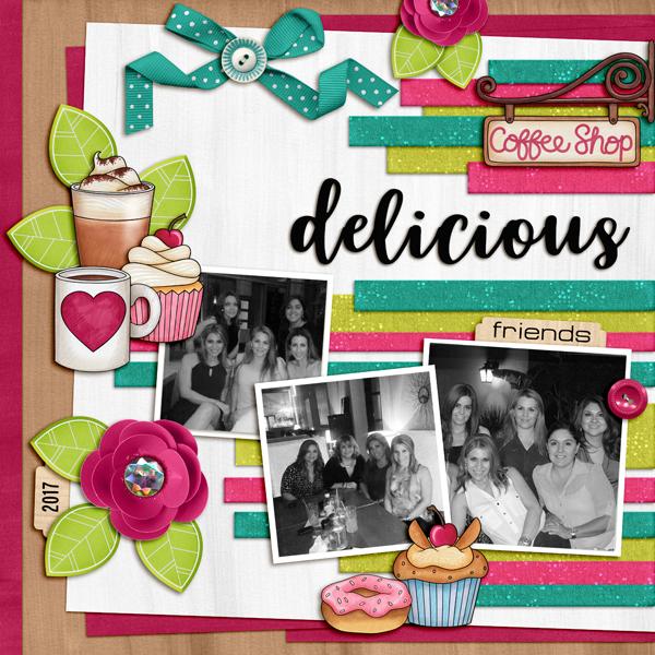 coffee friends digital scrapbook layout