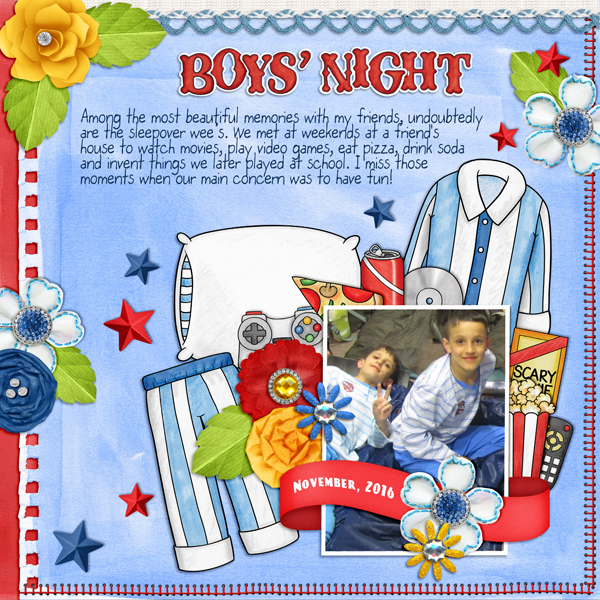 "Boys' slumber party / sleepover scrapbook page created with 'Boys' Night In"" digital scrapbooking kit by Kate Hadfield Designs – fun ideas for scrapbook pages! Layout by Creative Team member Karen"
