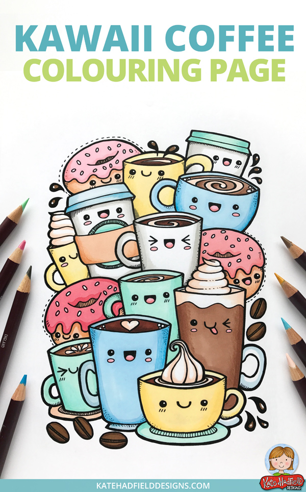 kawaii coffee colouring page download