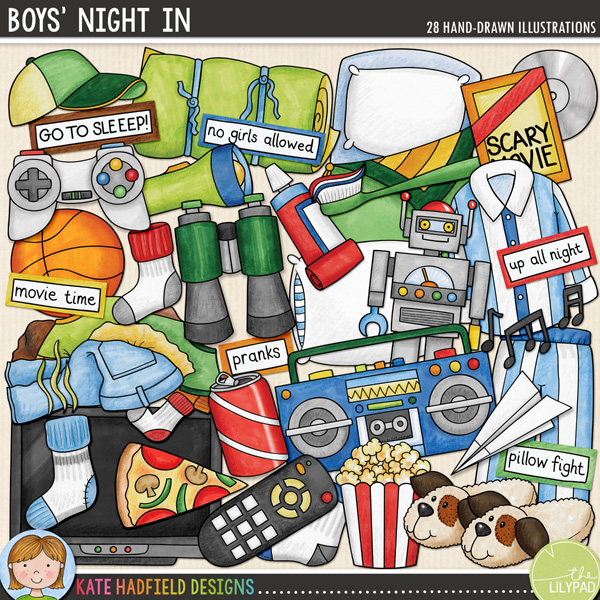 Boys' Night In digital scrapbooking elements / fun slumber party clip art! Hand-drawn doodles, clip art and line art for digital scrapbooking, crafting and teaching resources from Kate Hadfield Designs! Click for scrapbook pages and projects created using these illustrations!
