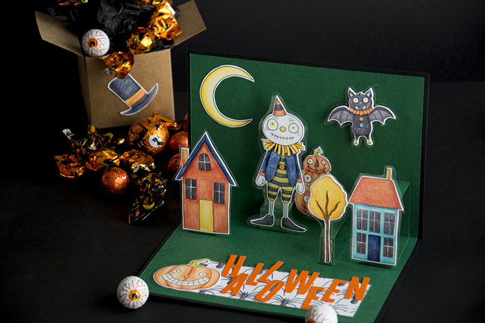 DIY 3D Halloween card created with digital scrapbooking supplies! Created by Scrapbooking Mania by Nuria using digital scrapbooking kits from Kate Hadfield