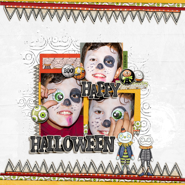 Halloween scrapbook page created with digital scrapbooking kits from Kate Hadfield Designs – fun ideas for Halloween scrapbook pages! #digitalscrapbooking Layout created by Creative Team member Birgit