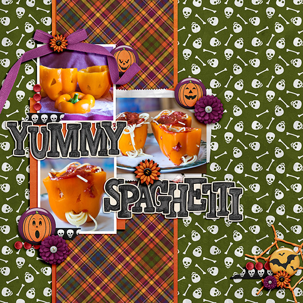 """Halloween scrapbook page created with the """"Trickity Treat"""" digital scrapbooking kit by Kate Hadfield and Kim Jensen – fun ideas for Halloween scrapbook pages! Layout created by Creative Team member Birgit"""