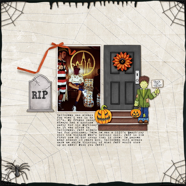"""Halloween scrapbook page created with the """"Trickity Treat"""" digital scrapbooking kit by Kate Hadfield and Kim Jensen – fun ideas for Halloween scrapbook pages! Layout created by Creative Team member Christa"""