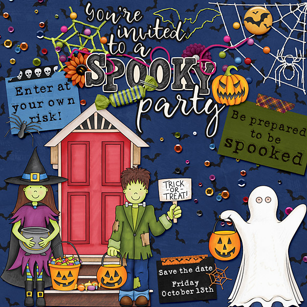 """Halloween scrapbook page created with the """"Trickity Treat"""" digital scrapbooking kit by Kate Hadfield and Kim Jensen – fun ideas for Halloween scrapbook pages! Layout created by Creative Team member Cindy"""
